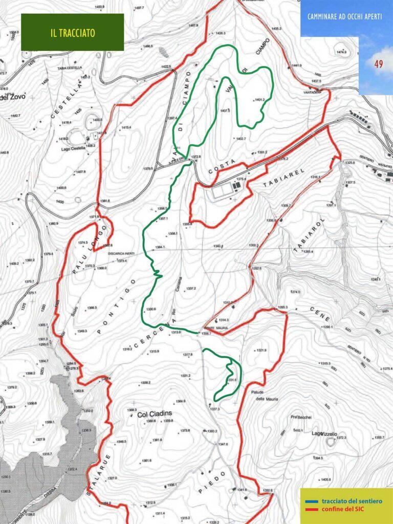 piantina del percorso alle Torbiere di Danta