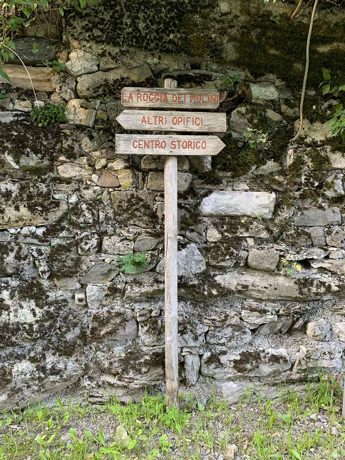 Cartello spiegazioni Lozzo di Cadore percorso dei mulini