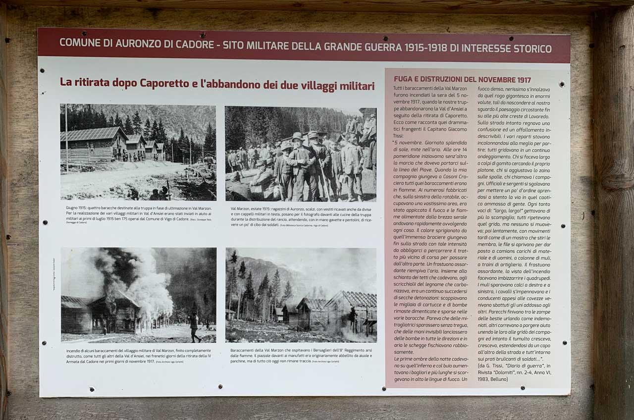 Auronzo-storia-Val-Marzon-cartelli-sito-militare-prima-guerra-mondiale