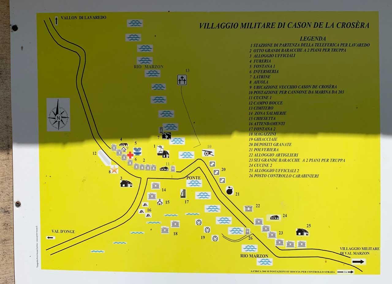 Auronzo-storia-Val-Marzon-pianta-villaggio-militare-situato al Cason-de-la-Crosera