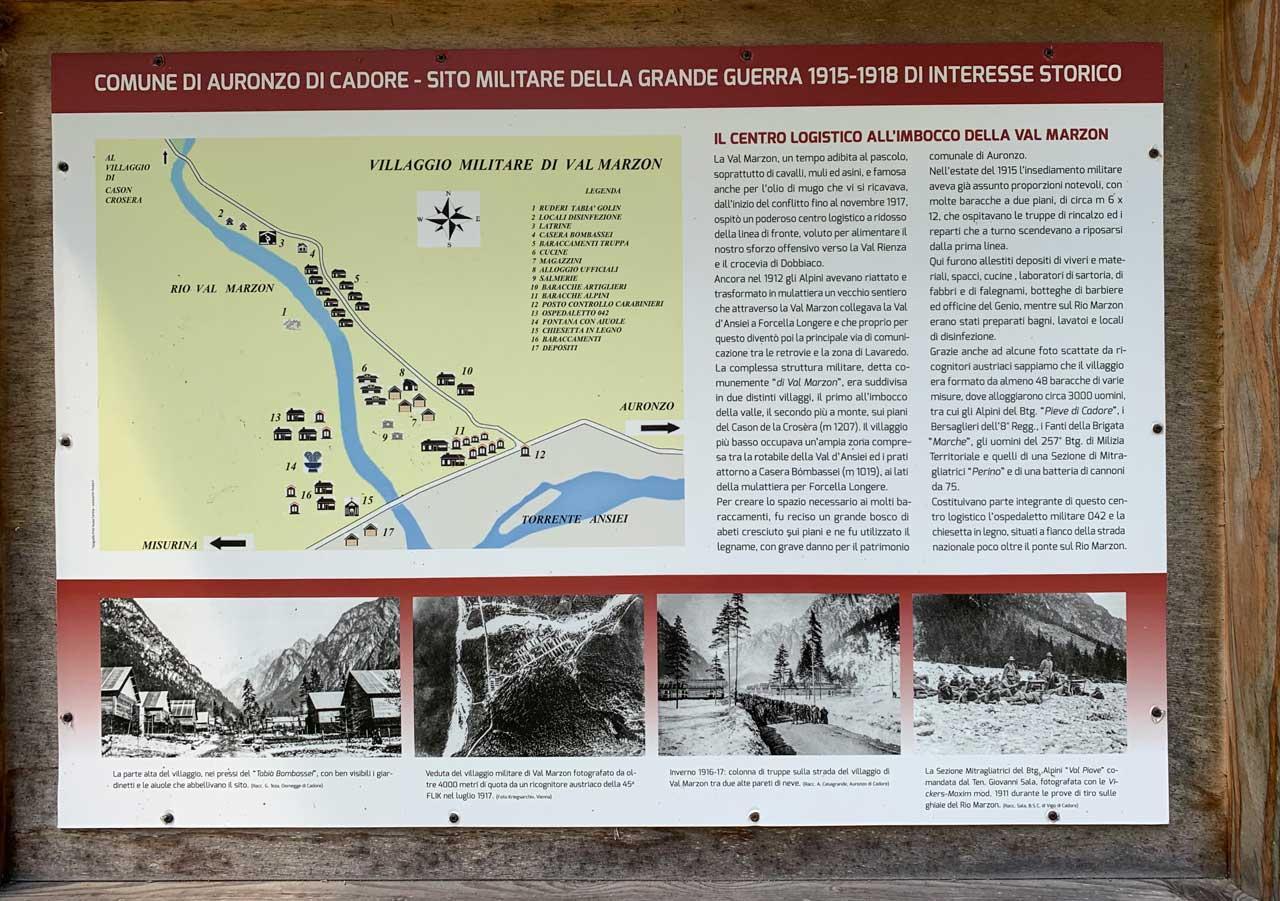 Auronzo-storia-Val-Marzon-primo-cartello-spiegazioni-grande-guerra