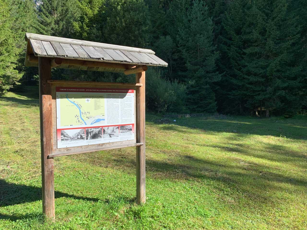 inizio percorso a piedi in Val Marzon - Auronzo passeggiate facili
